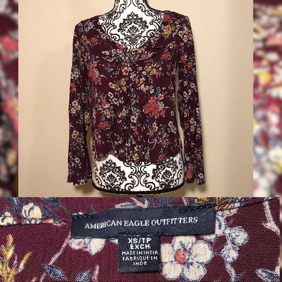 American Eagle Outfitters Tops - Boho Floral Bell Sleeve Blouse